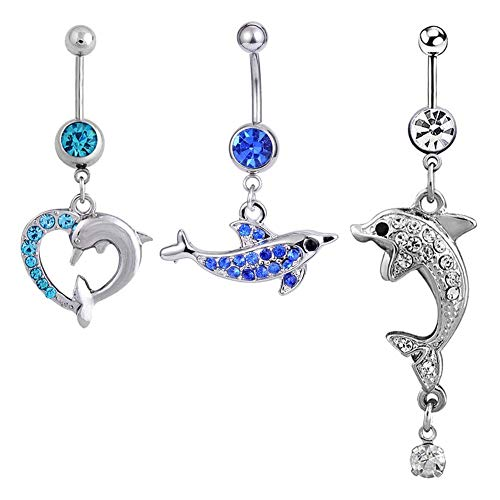 3PCS 14G Cute Dolphin Belly Button Ring Dangle Navel Barbell Body Piercing Jewelry