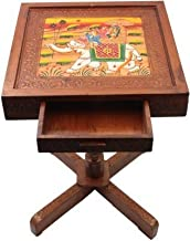 Saarthi Rajasthani Handcrafted And Elephant Dhola Maru Design Wooden Stool Cum Side Table With Drawer Storage (Multicolour)