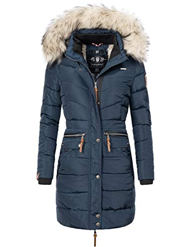 Navahoo Damen Winter Mantel Steppmantel Paula (vegan hergestellt) Blau Gr. XL