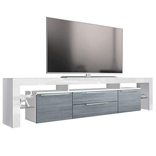 Vladon TV Board Lowboard Lima Nova V2, Korpus in Weiß matt/Front in Avola-Anthrazit