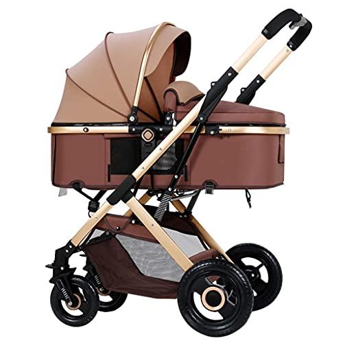 Cochecito de cuatro ruedas, marco de aleación de aluminio grueso, ruedas de amortiguación de goma para proporcionar un descanso estable para el bebé, un solo botón plegable de una sola mano, fácil de