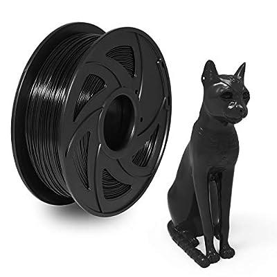 PETG Filament 1.75mm 3D Printer Filament Black, XVICO 1.75mm PETG Filament 1Kg Spool