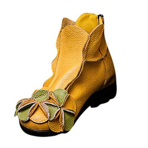 MYMYG Ankle Boot Winterschuhe Frauen handgenähte Blumen Schuhe ethnischen Stil Stiefel Leder Casual Stiefel Klassische Freizeitschuhe...