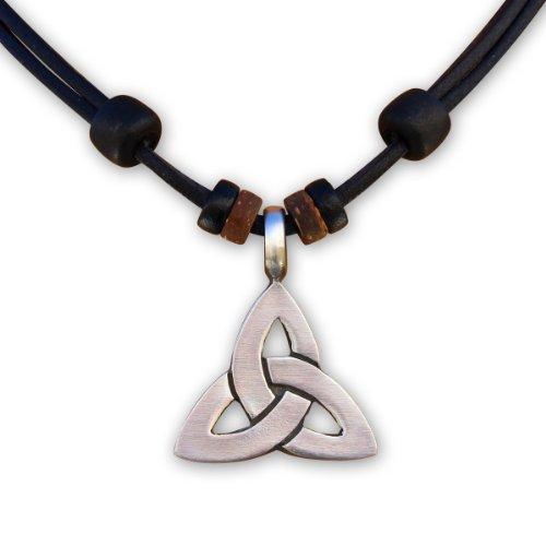 HANA LIMA ® Lederkette Keltenschmuck Keltischer Knoten Halskette Herren Damen Metallanhänger