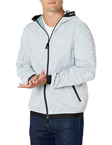 A|X Armani Exchange Men's Tape Hood Zip Up Jacket with Reflective Logo, White/Quarry, XL