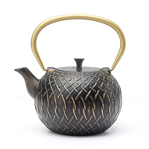 Tea Kettle, Toptier Japanese Tetsubin Cast Iron Teapot with Infuser for Loose Tea, Tea Kettle Stovetop Safe, 34 Ounce (1000 ml), Black Scale