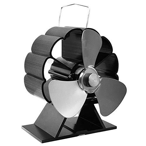 Kaminlüfter 3-Blatt-Heizkaminlüfter Mit Stromversorgung Home Effiziente Wärmeverteilung Geräuscharm Für Holz/Holzofen/Kamin (Size:110x65x125mm; Color:Grey)