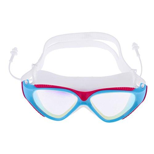Toygogo Gafas De Natación De Natación para Adultos Ajustables Gafas De Natación Protección Antiniebla UV con Tapón Auditivo + Estuche Protector - Rosado Azul