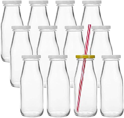 Lawei 12er Pack Glasflaschen Trinkflaschen mit Schraubverschluss Trinkglas Vintage Milchflaschen Saftflasche Wiederverwendbar - Inkl. 24 Deckel & 12 Strohhalm, 325ml