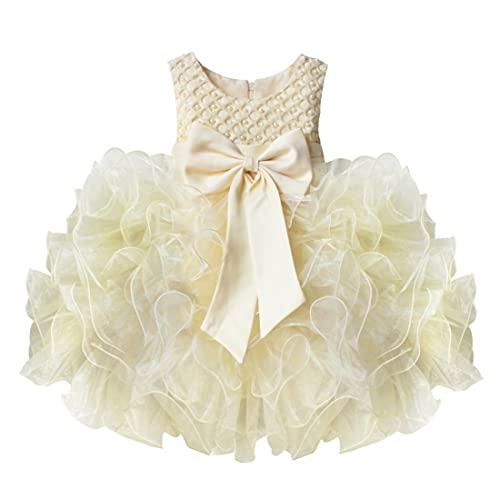 IEFIEL Vestido Princesa de Fiesta para Niña (3 meses-10 años) Vestido Elegante Floral Sin Manga de Cumpleaños Vestido Gasa con Bowknot de Bautizo Beige 9-12 Meses