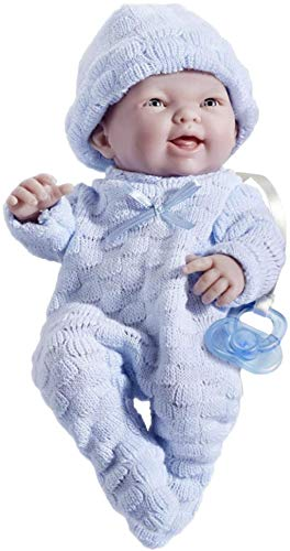 JC Toys Mini La Newborn Boutique - Realistic 9.5' Anatomically Correct Real Boy Baby Doll dressed in BLUE – All Vinyl Open Mouth Designed by Berenguer