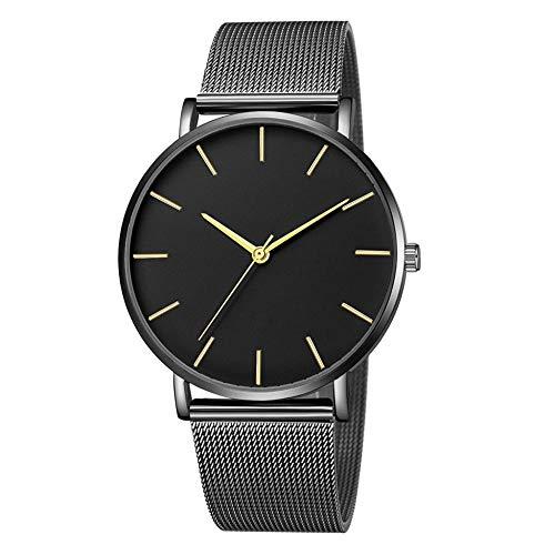 Powzz - Reloj de pulsera para mujer, diseño de escalera, color negro y dorado