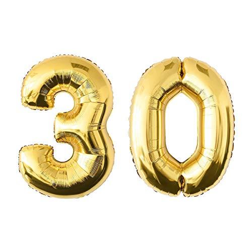 Soul hill Jumbo Partido Globo de la Hoja Globos de Oro Número 30 Festival cumpleaños Decoraciones Foto del Aniversario Puntales 52.49 Pulgadas zcaqtajro