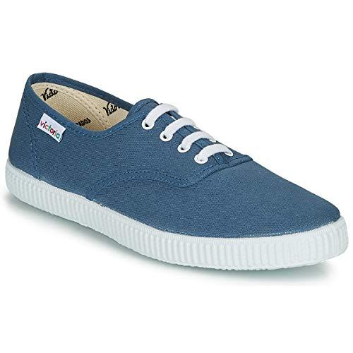 Victoria Inglesa Lona Zapatillas Moda Hombres Azul Zapatillas Bajas Shoes
