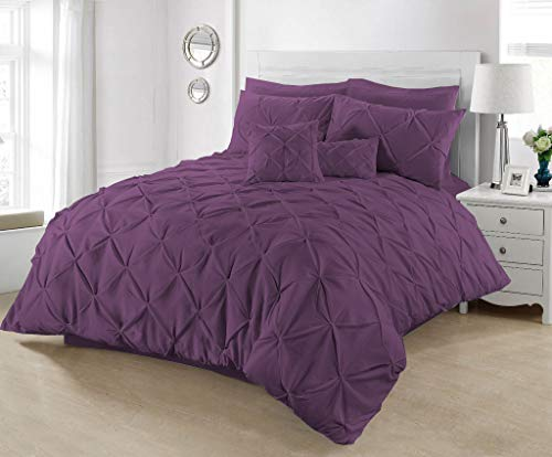 SeventhStitch Pintuck Duvet Cover with Pillowcases 100% Percale Cotton Quilt Bedding Covers Single Double King Super King Size Bed Sets (Plum, Double)