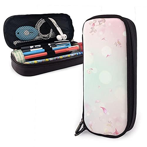 estuche Cherry Blossom Flying Petals Leather Pencil Case Bag,Big Capacity Durable Zipper Pen Bag Box For Boys Girls Kids,Pencil Pouch Storage Makeup Cosmetic Bag School Supplies Stati