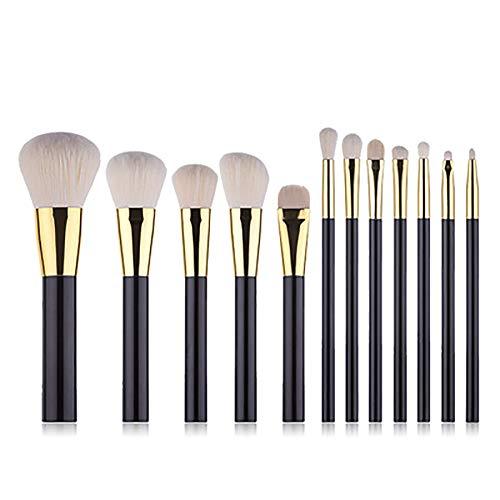 Pinceaux De Maquillage, 12PCS Maquillage D'or Noir Brosses Plat Poignée En Plastique De Maquillage Fibre Professionnelle Cheveux Brosses Outil De Beauté Set,Noir