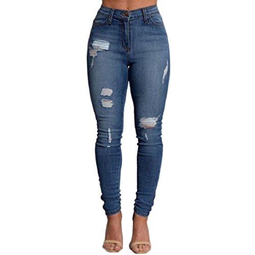 VICVIK Woman Knee Skinny Denim Distressed Ripped Boyfriend Jeans (XL)