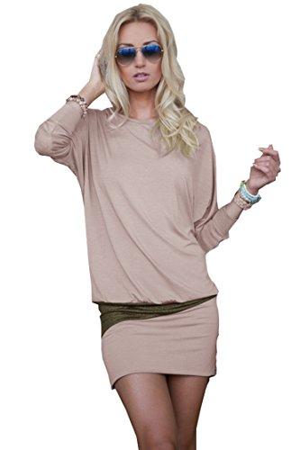 Mississhop 95-31 Damen Minikleid festlich Glitzer Kleid Pulli Tunika Cappuccino S