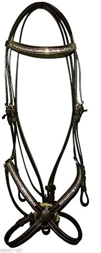 Cwell Equine New Leather Crystal Messicano Grackle Bridle con redini Full/COB/Pony Nero (Black, Full)