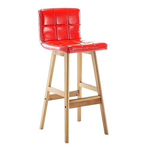 QQXX barkruk massief hout hoge stoel spons zitting keuken ontbijt barkruk zithoogte 68 cm (kleur: zwart, Maat: houtkleur) Wood Color Wood color 13