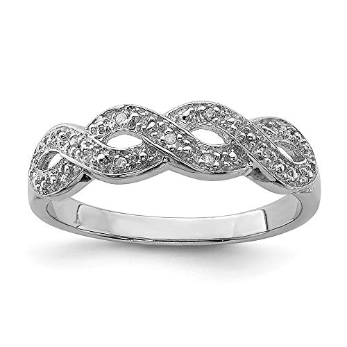 925 Sterling Silver Diamond Band Ring Size 7.00 Fine Jewelry For Women Gifts For Her