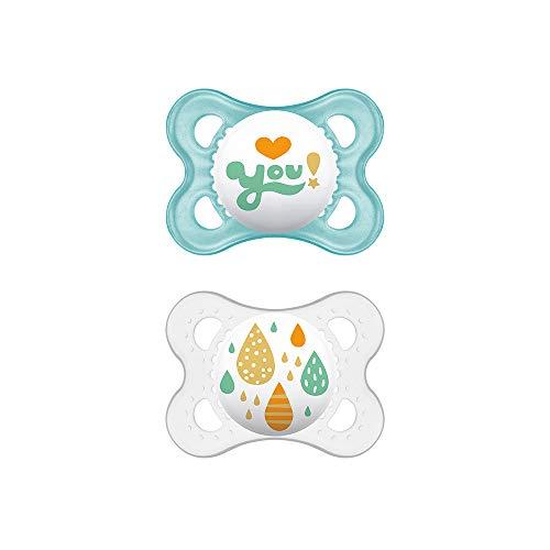 MAM Chupete Original S156 - Chupete con Tetina de Látex, para Bebé de 0+ meses, Neutro (2 unidades) con caja auto Esterilizadora, Versión Española
