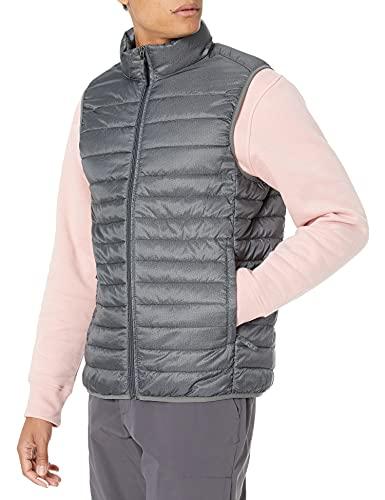 Amazon Essentials Men's Lightweight Water-Resistant Packable Puffer Vest, Charcoal Heather, Large
