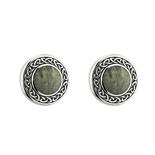 Biddy Murphy Connemara Marble Earrings Round Studs Sterling Silver Made in Ireland