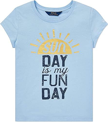 Polo Ralph Lauren Girl's Cotton T-Shirt (Pale Blue, 5)