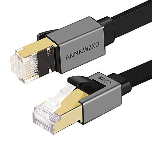 ANNNWZZD CAT 8 Ethernet-Kabel, Flach-LAN-Netzwerkkabel Hochgeschwindigkeits-Patch 40 Gbit/s, 2000 MHz mit vergoldetem RJ45-Anschluss für Router, Modem, PC, Switches, Hub, Laptop, Gaming, Xbox (3M)