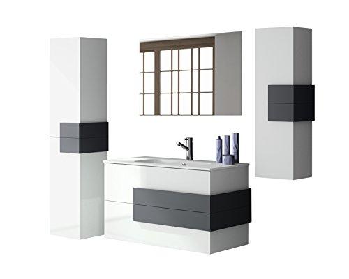 Cronos Design Badmöbelset Standard Weiß-Hochglanz mit abgesetzten Griffen in Anthrazit-matt 80cm (WT+WTU+SP+HS+SM)