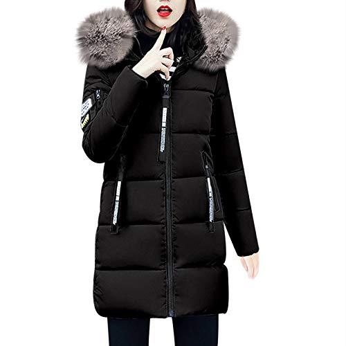 TWIFER Damen Feste Beiläufige Dicker Winter Slim Down Lammy Jacke Langen Mantel (XL, Schwarz)