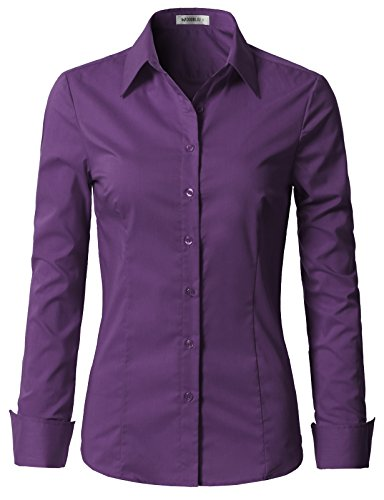 Doublju Womens Slim Fit Button Down Long Sleeve Slim Fit Dress Shirt Violet Small