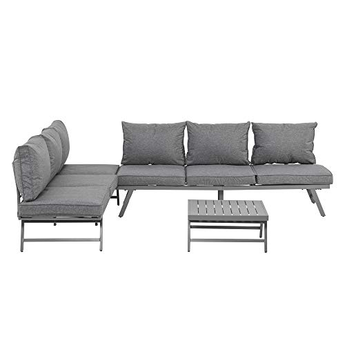 Outsunny 3 Pcs Garden Seating Set w/Convertible Sofa Lounge Table Padded Cushions Outdoor Patio Furniture Couch Grey