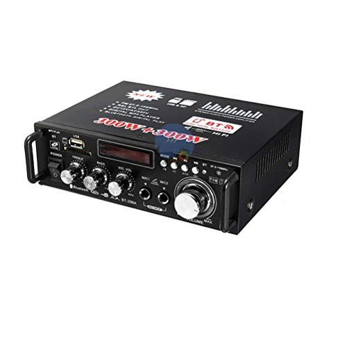 Flashing Amplificador Bluetooth De 600W 300W + 300W 2CH HiFi Audio Stereo Power AMP USB FM Radio Car Home Theater con Control Remoto