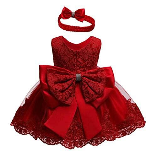 2PCs Vestito Principessa Bambina in Pizzo Abito Principessa Elegante Tutu Senza Maniche Neonata in Tulle Vestito da Festa Compleanno Matrimonio (Rosso, 12-18 Mesi)