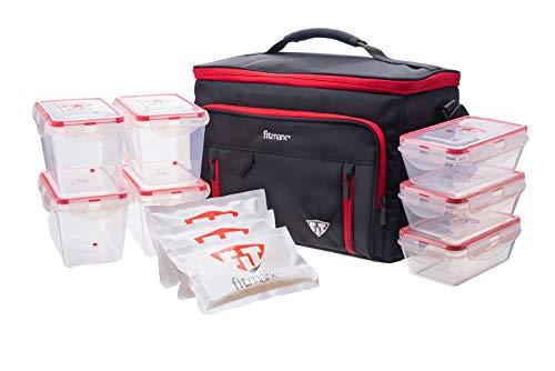Fitmark Trunk Isoliertasche für Mahlzeiten, mit BPA-freien Portionskontrolle, wiederverwendbare Kühlakkus, Schwarz und Rot