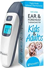 iProven Thermometer for Kids and Adults - Kids Thermometer Thermometer with Mute Function and Object Mode, Quick and Accurate Readings - Ear and Forehead Thermometer TMT-215 Grey
