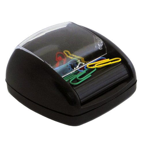 Pavo - Dispensador de clips con rodillo magnético (incluye 20 clips), color negro