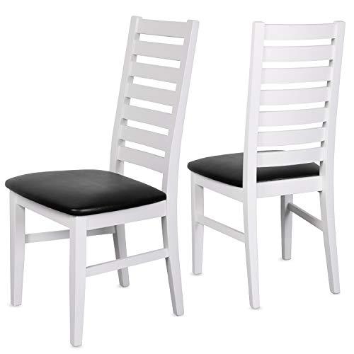 Staboos 4er Set Esszimmerstühle Leder CH02 - Stuhlset bestehend aus 4 Stühlen - Polsterstuhl bis 150 kg - Holzstuhl gepolstert (Weiss - schwarz)