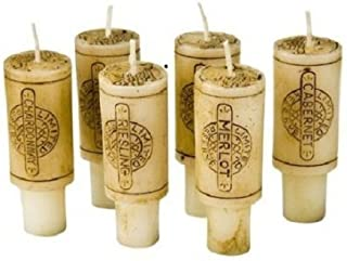 DecoGlow Merlot Scented Wine Cork Candles for Empty Wine Bottles, Birthday, Wedding Cake Toppers - Unique Gifts for Champagne & Wine Enthusiasts, Housewarming Gifts (Set of 6 Candles)