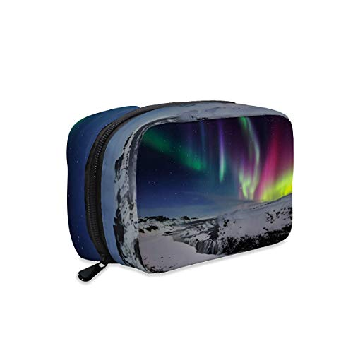 Iceland Aurora Borealis Northern Lights gullfoss Waterfall Winter Makeup Bag Zipper Pouch Travel Toiletry Bag Cosmetic Accessories Organizer Purse Large Portable for Women Girls