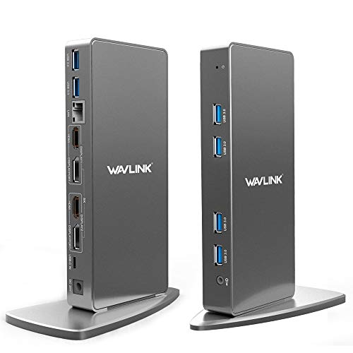 Wavlink Universal Docking Station Laptop with 5K or Dual 4K Video,2xHDMI, 2xDisplayPort,Gigabit Ethernet,2xType C ports,4xUSB3.0,Audio,Mic for Windows & Mac