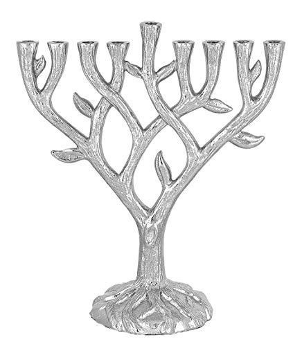 Textured Tree of Life Menorah - Collectible Quality - Uses Standard Hanukkah Candles