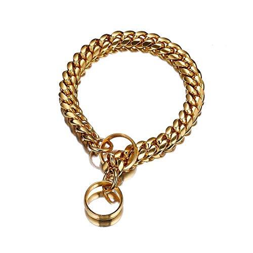 Collarzxy Halsband Halsband Für Hunde Edelstahl Hundehalsband Hunde Training Kettenhalsbänder Für Große Hunde Pitbull Bulldog Necklace-14Mm_18Inch