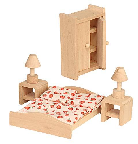 Mobili per casa delle bambole, camera da letto, 6 pezzi, giocattolo in legno
