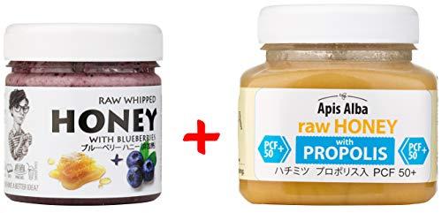 【Amazon.co.jp限定】 はちみつ 蜂蜜 ハチミツ 生 2個組 セット (ブルーベリーハニー200g、プロポリスハニー50+ 390g)Raw Honey Set Blueberry 200g & Propolis PCF 50+ 390g