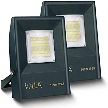 2-Pack Solla 100W LED IP68 Fully Waterproof Exterior Security Lights