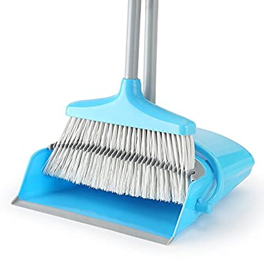 LiKe Broom and Dustpan Set/Dust Pan Standing Upright Sweep Set for Home Office Commercial Hardwood Floor Use(Blue)